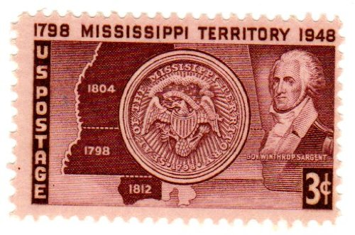 Postage Stamps United States. One Single 3 Cents Brown Violet, Map, Seal and Governor Winthrop Sargent, Mississippi Territory Issue, Stamp Dated 1948, Scott ()