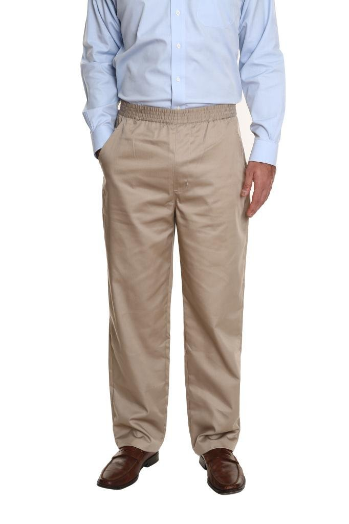Pembrook Men's Full Elastic Waist Twill Casual Pant - L - Tan