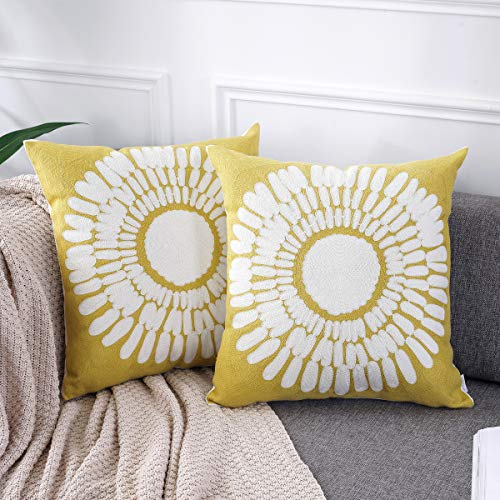 AmHoo Embroidery Cozy Throw Pillow Covers 100% Cotton Decorative Cushion Case Pillowcase for Sofa Couch (A-Yellow, 20