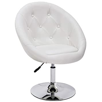 Awesome Duhome Elegant Contemporary Vanity Accent Lounge Chair Tufted Round Back Adjustable Swivel Cocktail Chair Synthetic Leather Wy 509A White Cjindustries Chair Design For Home Cjindustriesco