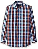 Nautica Big Boys' Long Sleeve Plaid Woven Shirt, Orange Plaid, 16