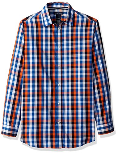 Nautica Big Boys' Long Sleeve Plaid Woven Shirt, Orange Plaid, 10