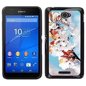 All Phone Most Case / Oferta Especial Duro Teléfono Inteligente PC Cáscara Funda Cubierta de proteccion Caso / Hard Case Sony Xperia E4 // White Flowers