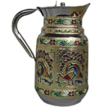 Indian Fine Stainless Steel water Pitcher , Meenakari decorative Jug , Table ware , Drink ware Home Kitchen Water Storage Vessel - 1.5 liter Capacity (Peacock )