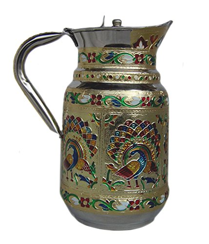 Fine Stainless Steel Serveware - Indian Fine Stainless Steel water Pitcher, Meenakari decorative Jug, Table ware, Drink ware Home Kitchen Water Storage Vessel - 1.5 liter Capacity (Peacock)