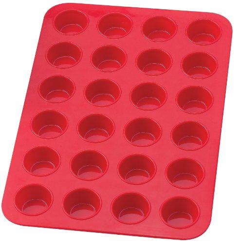 Mrs. Anderson's Baking Silicone 24-Cup Mini Muffin Pan Baking Mold, BPA Free, Non-Stick European-Grade Silicone, 13.5 x 9.25 x .75-Inches