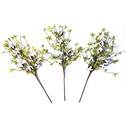 "Cotton Stems - 26"" Tall Real Elastic Cotton Stalk Rustic Floral with Artificial Green Leaves for Wall Or Desk Decor, Wedding Centerpiece (Pack of 3)"