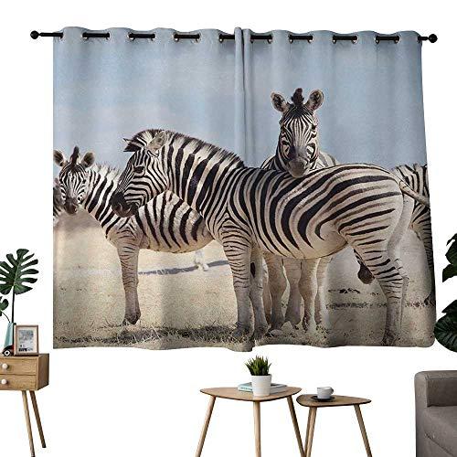NUOMANAN Blackout Curtain Panels Window Draperies Wildlife,Three Zebras in Namibia National Park Africa Savannah Safari Theme,Light Blue Black Beige,Darkening Grommet Window Curtain-Set of 2 42