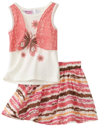 Young Hearts Baby Girls' Mock 2 Piece Top and Woven Skooter Set, Red Music, 24 Months