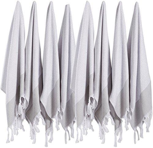 (SET of 8) Turkish Cotton Hand Face Head Guest Gym Towel Set Peshtemal Washcloth Kitchen Tea Towel Dish Cloth Set (Grey) (Bath Set Towel Silk)