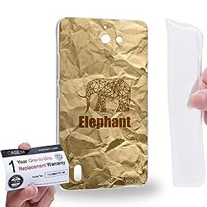 Case88 [Huawei Ascend G628] Gel TPU Carcasa/Funda & Tarjeta de garantía - Art Hand Drawing Paper Bag Texture Hipster Elephant Art2159