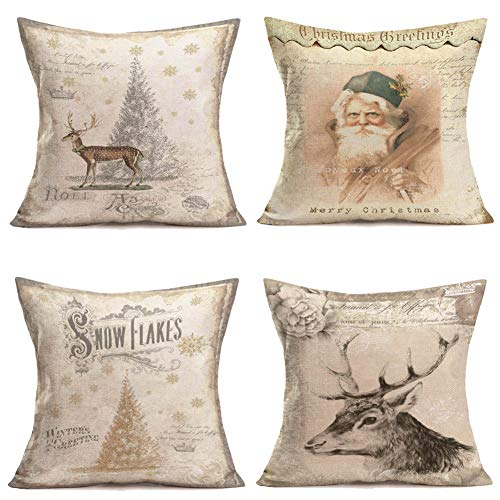 (Qinqingo Throw Pillow Covers Christmas Winter Home Decorative Cotton Linen Vintage Background Christmas Tree Snowflakes Santa Claus Elk Throw Pillow Case Cushion Cover for Sofa Couch 18