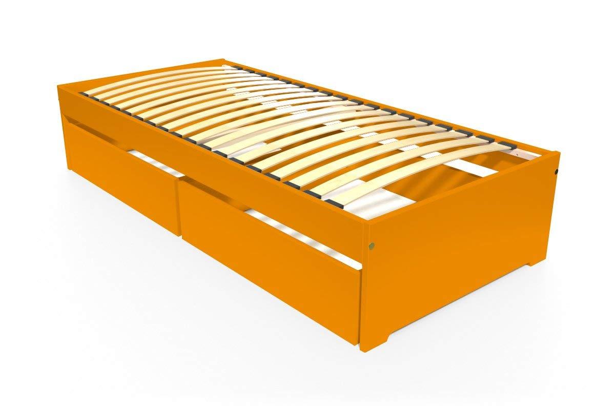 ABC MEUBLES - Einzelbett Malo 90x190 cm + Schubladen - TOPMALO90T - Orange, 90x190