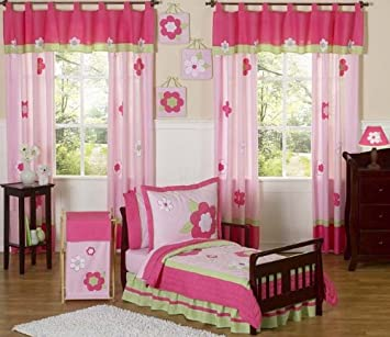 Sweet Jojo Designs 5 Piece Pink And Green Flower Collection Girls Toddler Bedding Set