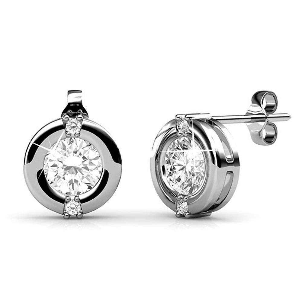 Dividiamonds Bezel Set Round Cut Cubic Zirconia 18K White Gold Finish Solitaire Stud Earrings