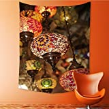 Mandala Tapestry Wall Tapestry Bohemian Wall Hanging colorful lantern lamps traditional style concept for arabic islamic culture and Wall Art Wall Decor Beach Tapestry 51.1L x 59W Inches