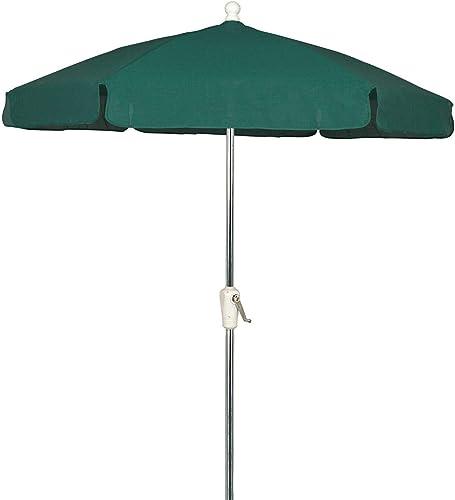 FiberBuilt 7.5 Ft. Aluminum Market Patio Umbrella W Crank Lift – Silver Pole Forest Green Vinyl