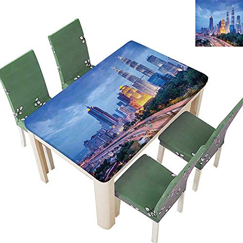 Printsonne Polyester Fabric Tablecloth Lumber Sunrise Hig Skyscrapers by The Skyl Town Sout Asian Panorama Summer & Outdoor Picnics 52 x 108 Inch (Elastic - Fabric Sout