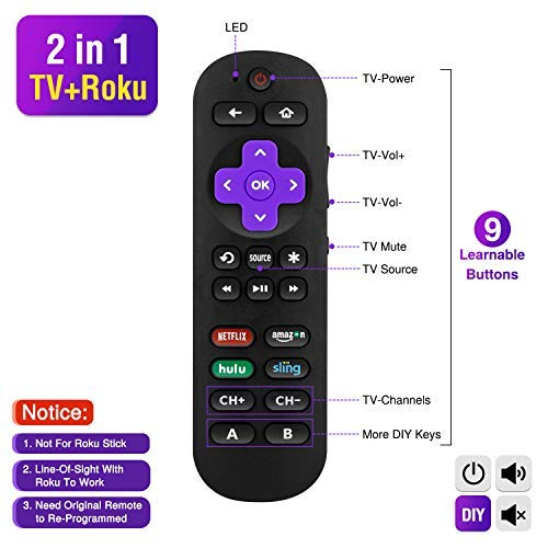 Universal Remote Control for Roku Player with 9 More Learning Keys to Control TV Soundbar Receiver All in One (Fit for Roku 1 2 3 4 Premier+ Express Ultra)【NOT for ROKU Stick & Built-in ROKU TV】
