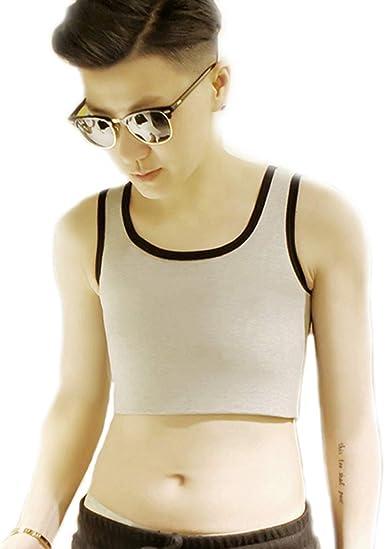 BaronHong Tomboy Trans Lesbische Baumwolle Brust Binder Plus Size Short Tank Top mit st/ärkerem Gummiband