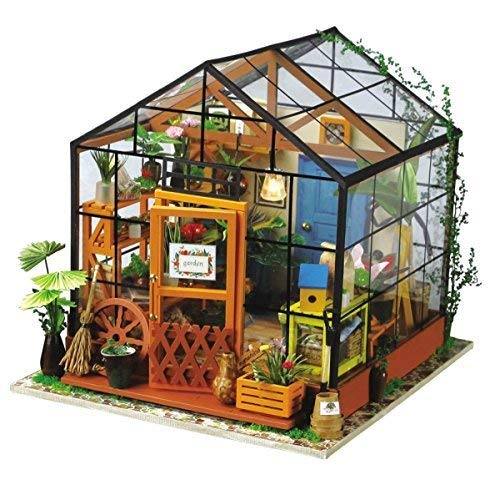 Hands Craft DG104 DIY 3D Wooden Miniature House Building Kit: Cathy's Flower House with Real LED Lights - Puzzles Kit Craft