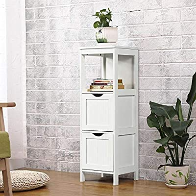 Topeakmart Bathroom Floor Cabinet with 2 Drawers, Free Standing Side Storage Organizer with 1 Shelf, Wooden Multifunctional Rack Stand, White