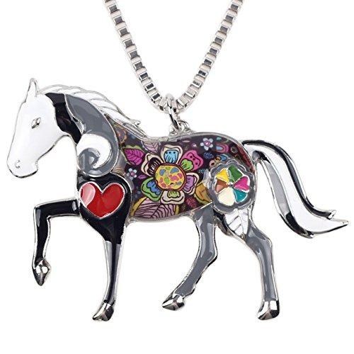 Bonsny Love Heart Enamel Zinc Alloy Metal Horse Necklace Animal pendant Exclusive Design 18 Inches (Black)