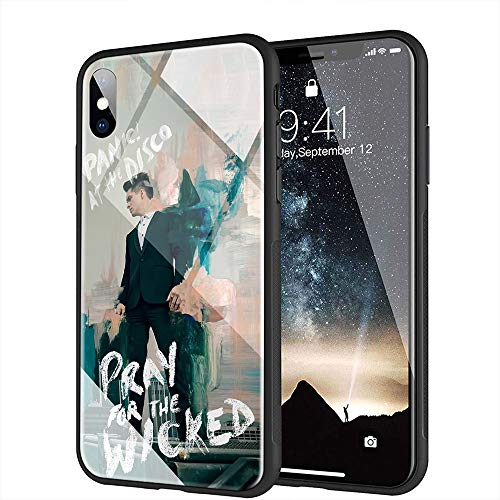 iPhone 7 Plus Case, iPhone 8 Plus Case, Tempered Glass Back Cover Soft Silicone Bumper Compatible with iPhone 7 Plus/8 Plus AMB-8 Panic! Panic at The Disco (Panic At The Disco Iphone 7 Case)