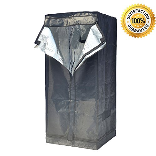 """51CZ1yIz37L - Grow Tent Indoor 2x2 Feet Not Include LED - Small Reflective Mylar Hydroponic/Hydro Waterproof Seedling Plant Growing Room for Grow Tents, Black 24""""x24""""x56"""""""