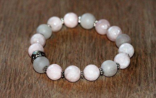 HEART CHAKRA Rose Quartz Yoga Inspired Crystal Beaded Bracelet Stretchy Stack Women Yogi Free Spirit (Bracelets Quartz Rose Beaded)
