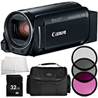 Canon VIXIA HF R700 Full HD Camcorder (Black) 5PC Accessory Bundle (Certified Refurbished) – Includes 32GB SD Memory Card + 3PC Filter Kit (UV + CPL + FLD) + MORE