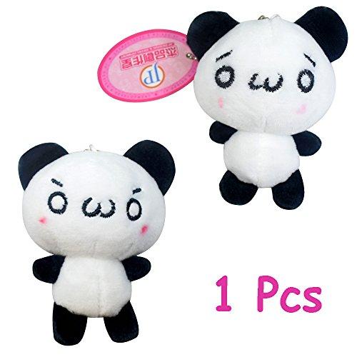1 Pc Little Baby Panda Emoji Eye Stuffed Animal Soft Plush Keychain Key Ring New