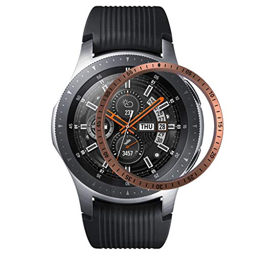 Morrivoe Bezel Ring Bezel Ring Adhesive Cover Anti Scratch Metal Compatible with Samsung Galaxy Watch 46MM Rose Gold