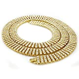 14K Gold Plated 4 ROW Simulated Clear Diamond Iced Out Necklace, 30 inches