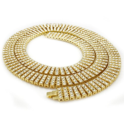 14K Gold Plated 4 ROW Simulated Clear Diamond Iced Out Necklace, 36 inches (36 Inch Hip Hop Chain)