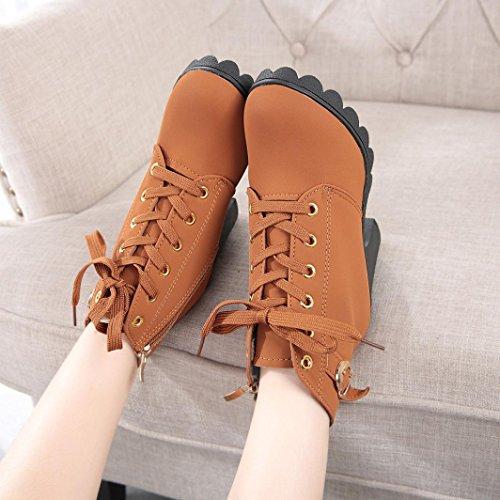 Botas Mujer Otoño invierno 2017 Zapatos de plataforma Zapatos de tacón botines Amlaiworld Amarillo