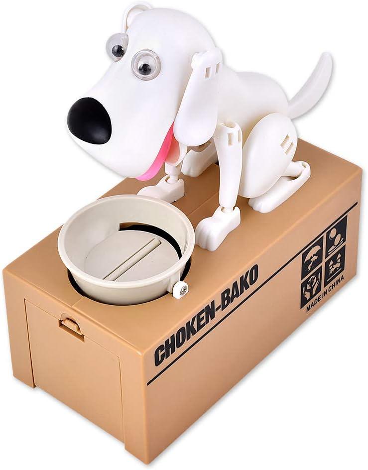 Perro Hambriento Hucha Caja de Ahorro de Dinero Comiendo Monedas Munching Toy - Blanco, Regalo de cumpleaños Ideal, niños (Blanco)