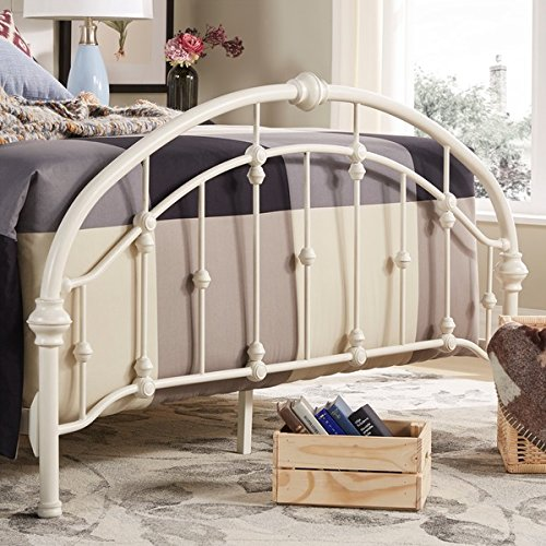 amazoncom white antique vintage metal bed frame in rustic wrought cast iron curved round headboard and footboard victorian old fashioned bedroom furniture - Queen White Bed Frame