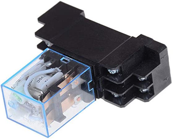 HOUTBY 5Pack 12V DC Coil Power Relay LY2NJ DPDT 8 Pin HH62P JQX-13F With Socket Base