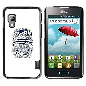 Caucho caso de Shell duro de la cubierta de accesorios de protección BY RAYDREAMMM - LG Optimus L5 II Dual E455 E460 - Sailor Text White Ink Tattoo Captain