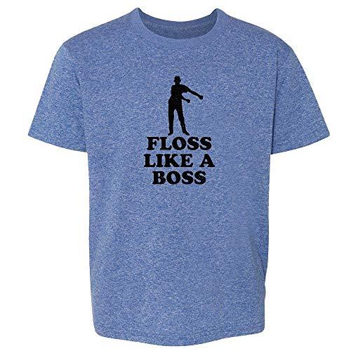 Floss Like A Boss Dance Silhouette Funny Heather Royal Blue M Youth Kids T-Shirt