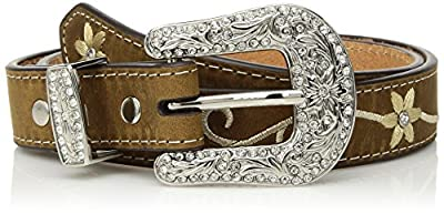 Nocona Girl's Embroidered Flower Belt, Medium Brown, 28