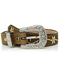 Nocona Western Belt Girls Embroidered Flower Leather 24 Brown N4438644