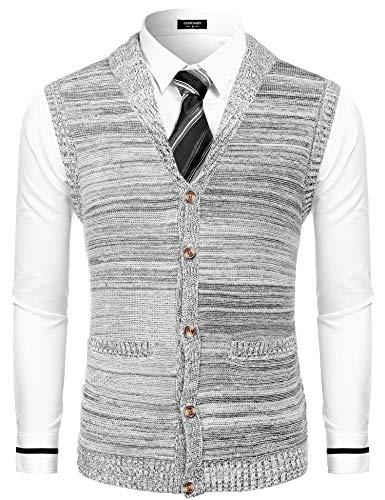 COOFANDY Mens Shawl Collar Cardigan Sweater Slim Fit Button