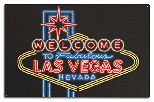 Las Vegas, Nevada - Neon Lights Welcome Sign (10x15 Wood Wall Sign, Wall Decor Ready to Hang)
