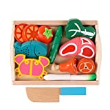 Binoster Magnetic Wooden Cutting Fruits Vegetables Food Play Toy Set Chopping Game Learning Food Prep Kit for Toddlers Kids pretend play kitchen