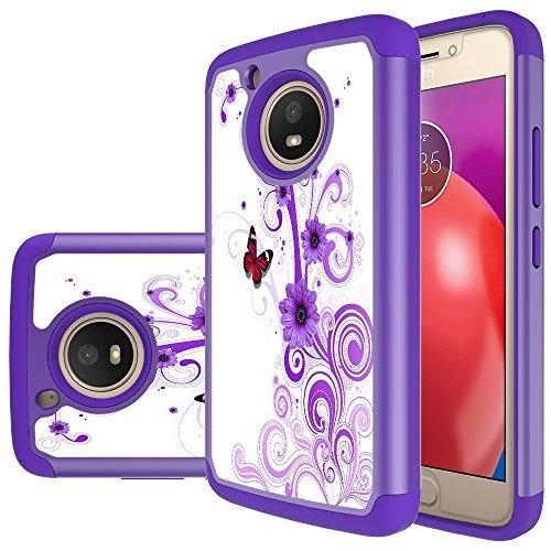 Moto E4 Case (US Version), MicroP Hybrid Dual Layer Silicone Plastic Armor Defender Phone Case Cover for Motorola Moto E4 2017 / Moto E (4th Generation)(Armor Purple Flower)