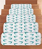 Non-Slip Carpets Stair Treads,Sea Animals Decor,Aqua Watercolor Art Dolphin Figures Ocean Playful Marine Underwater Theme,Aqua White,(Set of 5) 8.6''x27.5''
