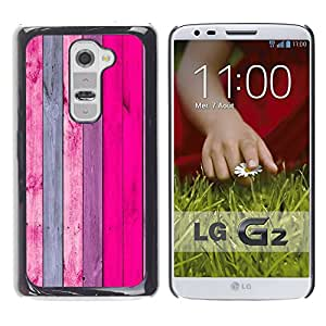 Qstar Arte & diseño plástico duro Fundas Cover Cubre Hard Case Cover para LG G2 / D800 / D802 / D802TA / D803 / VS980 / LS980 ( Wooden Wall Design Pink Purple Decoration)