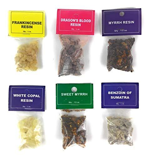 Resin Incense 6 Pack Sampler, Frankincense, Dragon